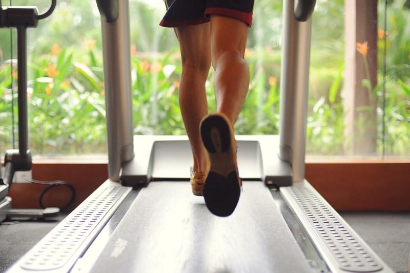 Person running on treadmill